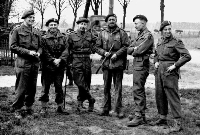 Maj Vicomte Arthur de Jonghe (4th from left) and others SS Bde HQ