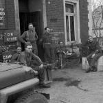 Sgt. Charles Grosser and others, No.1 SS Brigade HQ - o/s the Quartermaster Store