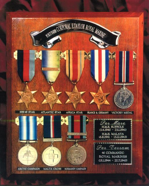 The medals of Corporal Eric Taylor
