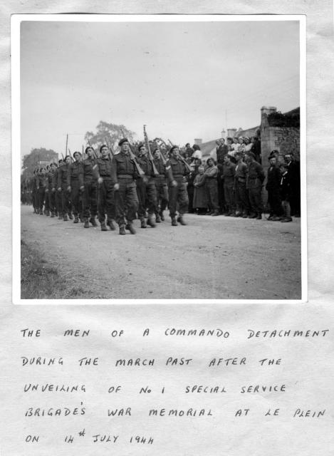 Commando march past after the unveiling of the No.1 SS Bde War Memorial at le Plein