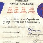 Commando Service Certificate for Derek Quick
