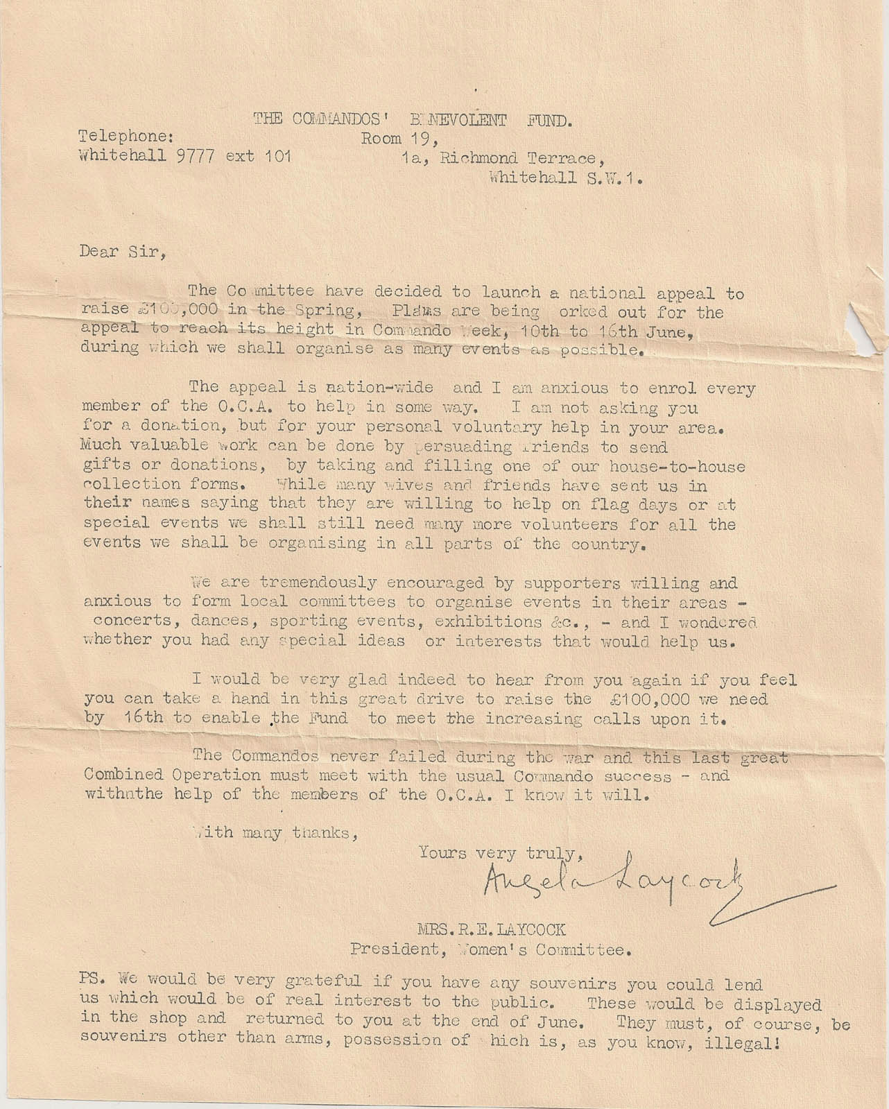 Appeal Letter To Raise Funds For The Commando Benevolent Fund