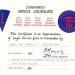 Commando Service Certificate for Jack Barlow No.2 Cdo.