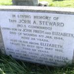 The family stone next to the grave of Trooper John Arthur Steward