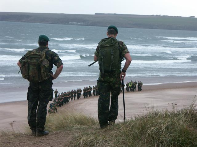 45 Cdo. RM  ' Yankee Company' on Lunan Bay beach, Nov.2005