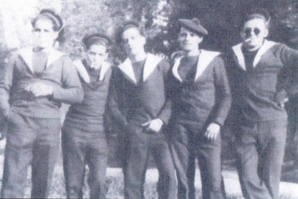 Julien Burel (centre) and others