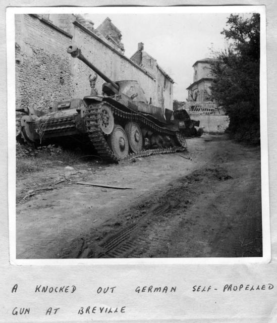 Destroyed German self propelled gun at Breville