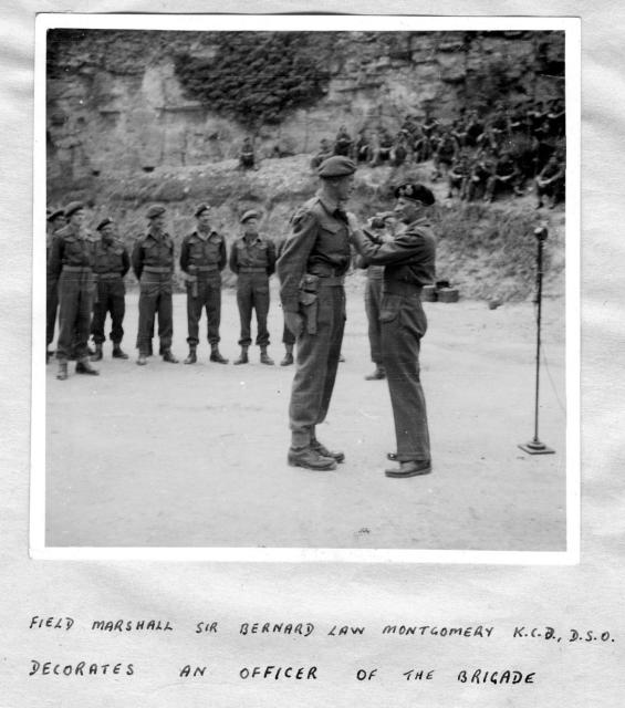 Field Marshall Montgomery decorates an officer of No.1 Special Service Brigade