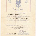 Harry Keay's SAS Certificate