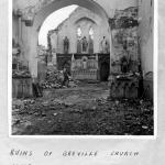 Ruins of Breville Church after liberation August 1944