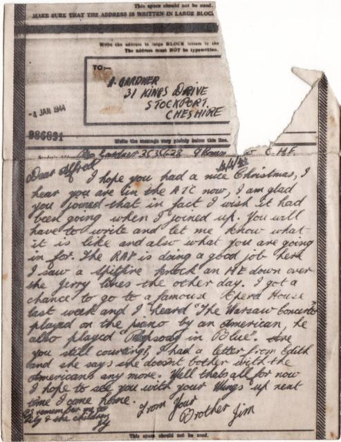 Lance Corporal James Gardner - 1944 letter to his brother Alfred