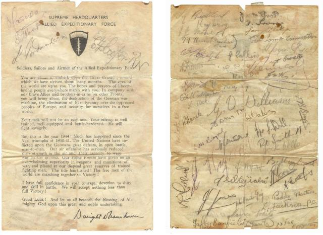Eishenhower letter with signatures of  'D' troop No.4 Commando