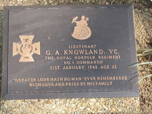 Plaque for Lieut. George  Knowland VC    No.1 Commando