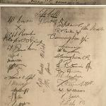 Signatures of 'G' troop No.4 Cdo. on board the Queen Emma