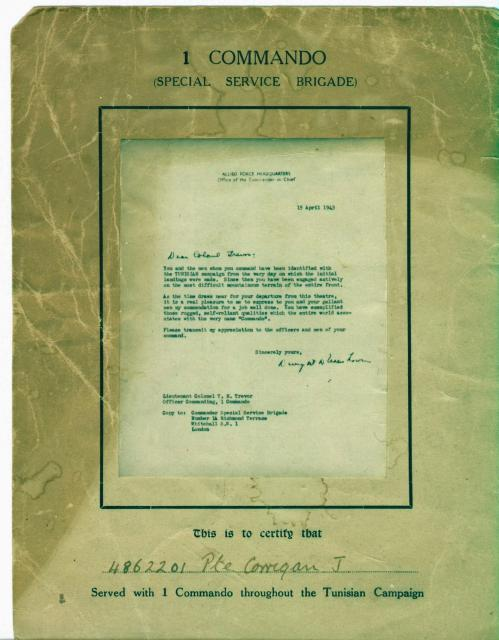 No. 1 Commando Tunisian certificate for Pte.James Corrigan