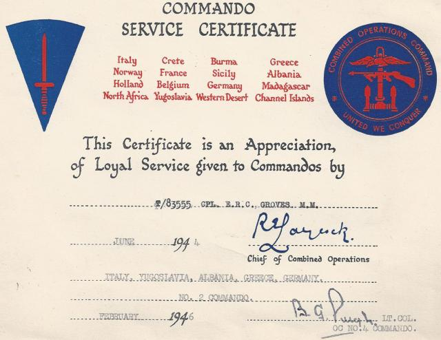 Commando Service Certificate for L/Cpl. Eric Groves MM