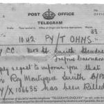 Official Telegram advising of the death of Cpl. Roy Montague Smith 43RM Commando.