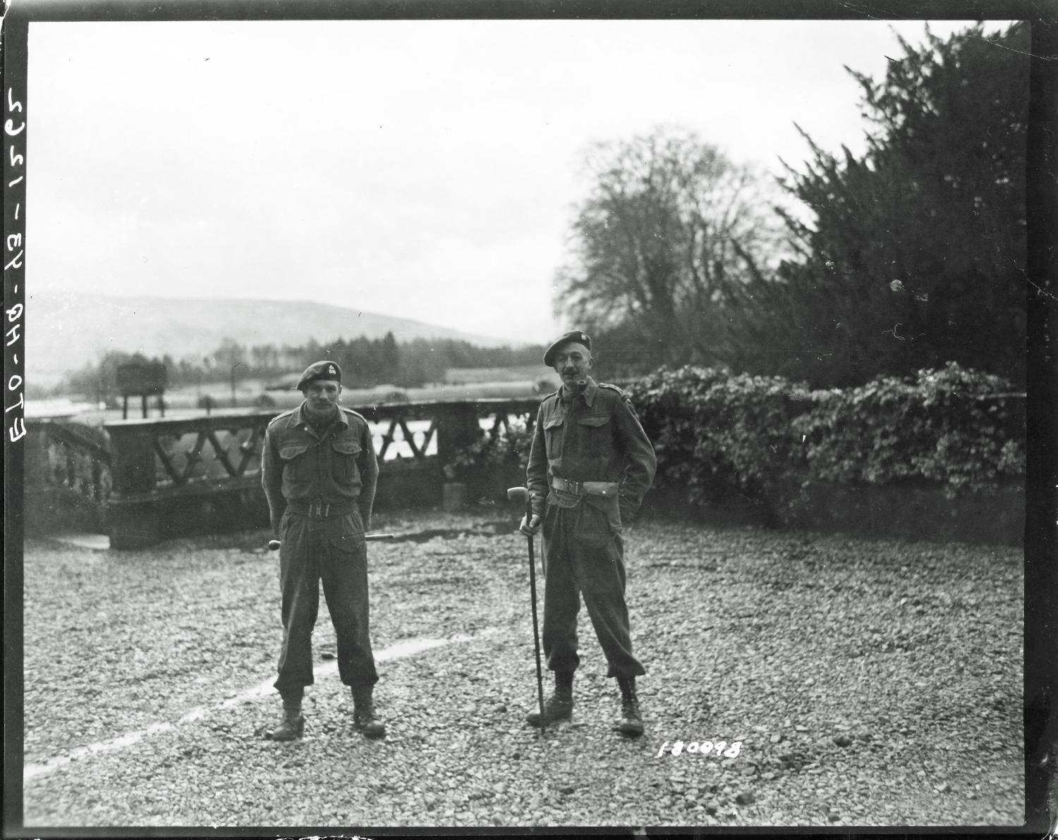 Major Cockcraft,  2 i/c CBTC, and Captain Viscount De Jonghe, Demolition Officer