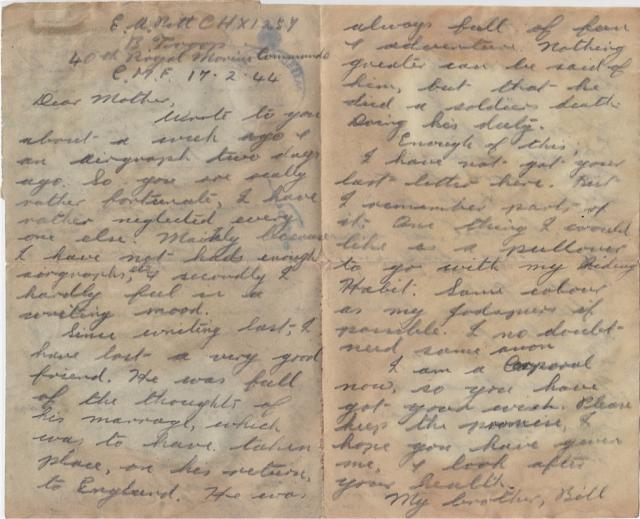 Letter home dated 17/2/44