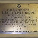 Plaque for Lieutenant Sydney Bryant, No5 Commando