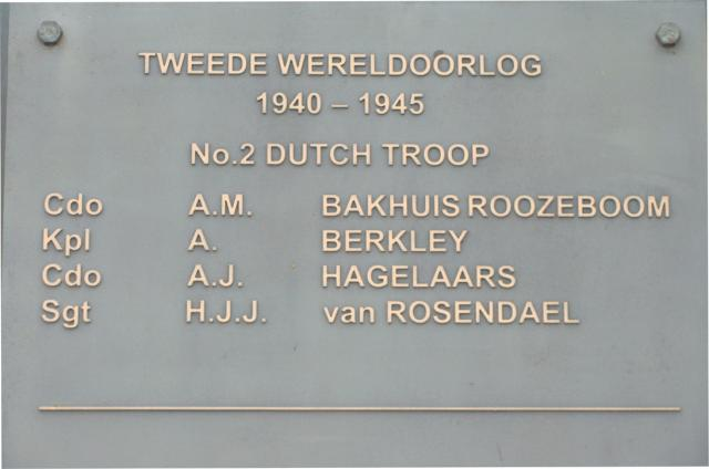 Plaque of the members of No.10(IA) Cdo. 2 Dutch troop killed during WW2.