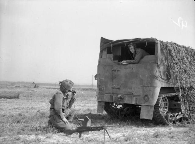 Forward Observation Bombardment armoured lorry in operation in the Sword area