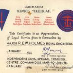 Commando Service Certificate for Major Holmes RE