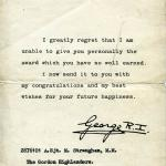 Letter from the King to A/Sgt. Joseph Malcolm Straughan MM