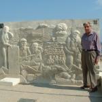 Arnold Wheeldon at the memorial at Queen sector Sword beach