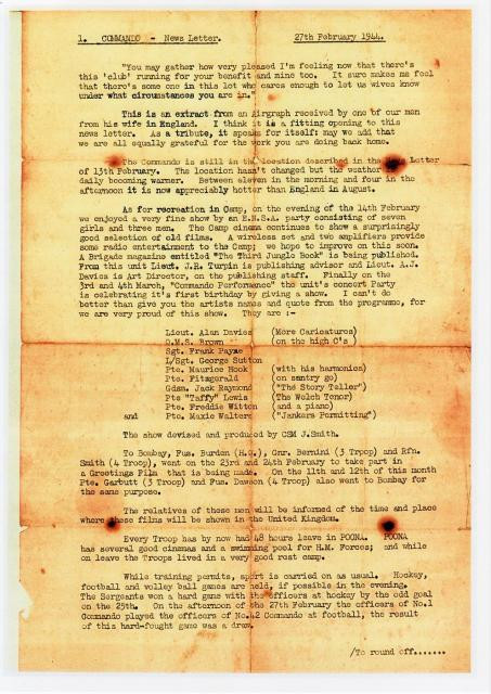 No1 Commando News Letter 27 Feb 1944-page 1-owner Teresa Fitzgerald.
