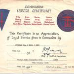 Commando Service Certificate for Thomas Hall