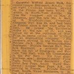 Newspaper report on the death of Wifred Hall, brother of Tom Hall