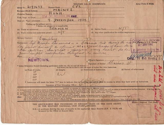 Release Leave Certificate-Hugh Maines-Jan 1946.