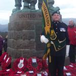 Fred Davies with The CVA Colours, Spean Bridge Remembrance Service