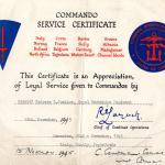 Commando Service Certificate for Len Justice