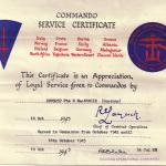 Commando Service Certificate for Pte Hugh MacKenzie No.1 Cdo.