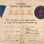 Commando Service Certificate for Sgt. Wright 46 RM Cdo
