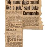 Newspaper report on Capt the Duke of Wellington No.2 Cdo