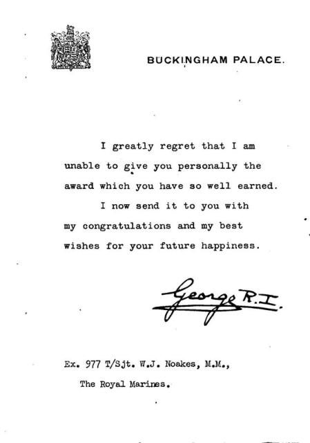 Letter from the King to Sgt.William Noakes, 45RM Cdo. re the award of his Military Medal