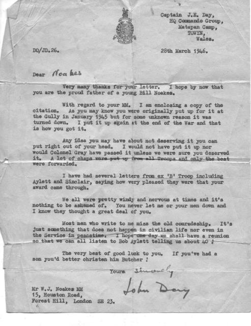 Letter to Sgt. Noakes MM 45RM Cdo.from Capt.John Day HQ Commando Group