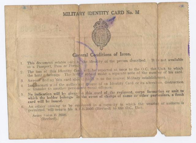 Lt H W Wright's Military Identity Card 1945 (reverse)