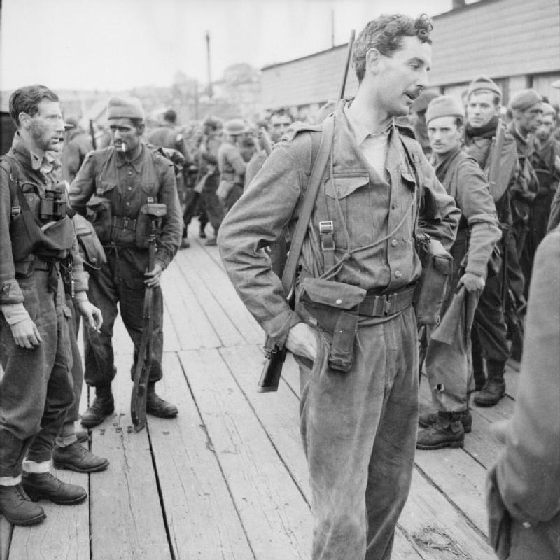 Lt Col The Lord Lovat, CO of No. 4 Commando, at Newhaven after Dieppe
