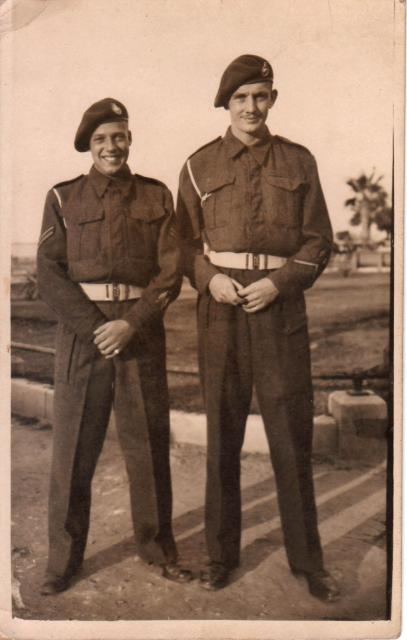 Thomas Cooke (on right) and ? at Alexandria,  21 Dec 1943