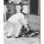 Sir Alexander Waddell KCMG, DSC, Governer of Sarawak, laying a wreath at Limbang.