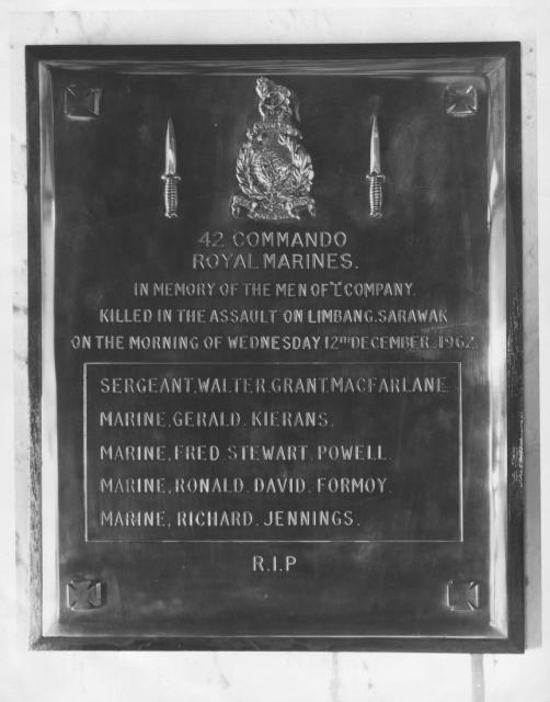 42 Commando RM Plaque in St. Michaels Chapel Singapore