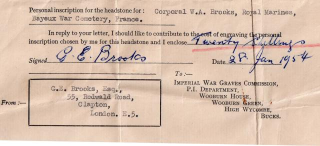 Contribution for inscription on the CWGC headstone for Cpl. Brooks 46RM Cdo