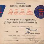 Commando Service Certificate for Pte. K.C. Darlington MM
