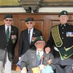 Johnny Morris (2 Cdo), Billy Moore (5 Cdo), Dougie Roderick (3 Cdo), and CVA Standard Bearer Fred Davies