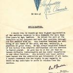 1945 testimonial from Commanding Officer for Sgt Radford