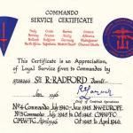 Commando Service Certificate Sgt Robert Radford